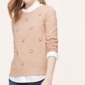 LOFT embelished pink sweatshirt